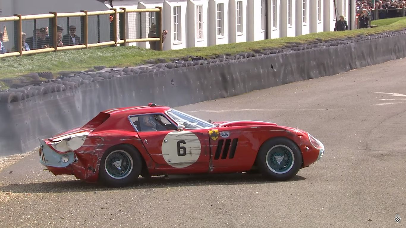 ferrari 250 gto smashes into the tire wall at goodwood. Black Bedroom Furniture Sets. Home Design Ideas