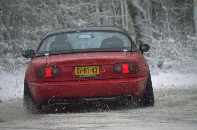 Miata snow drifting