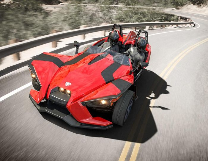 the polaris slingshot is like the love child of a ktm x-bow and a