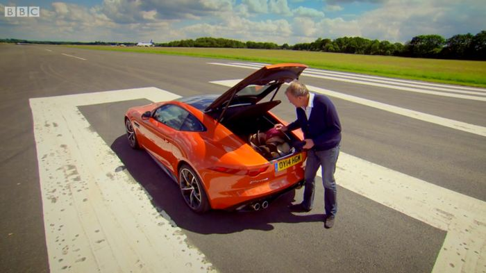 Awesome Jeremy Discovers The F Type Coupe Is Good For Carrying Many Hats