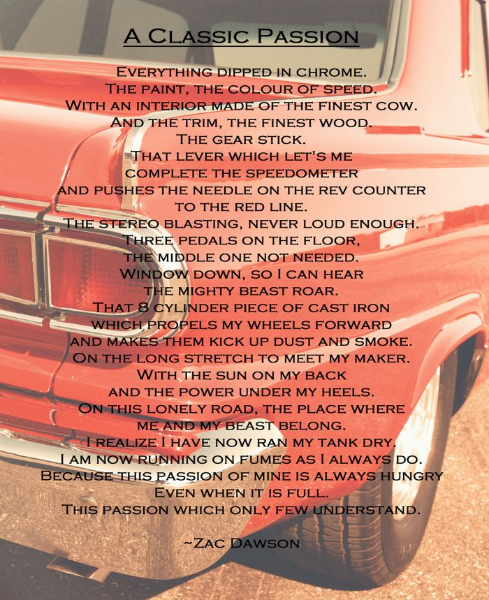 A Poem I Made About Classic Cars Enjoy