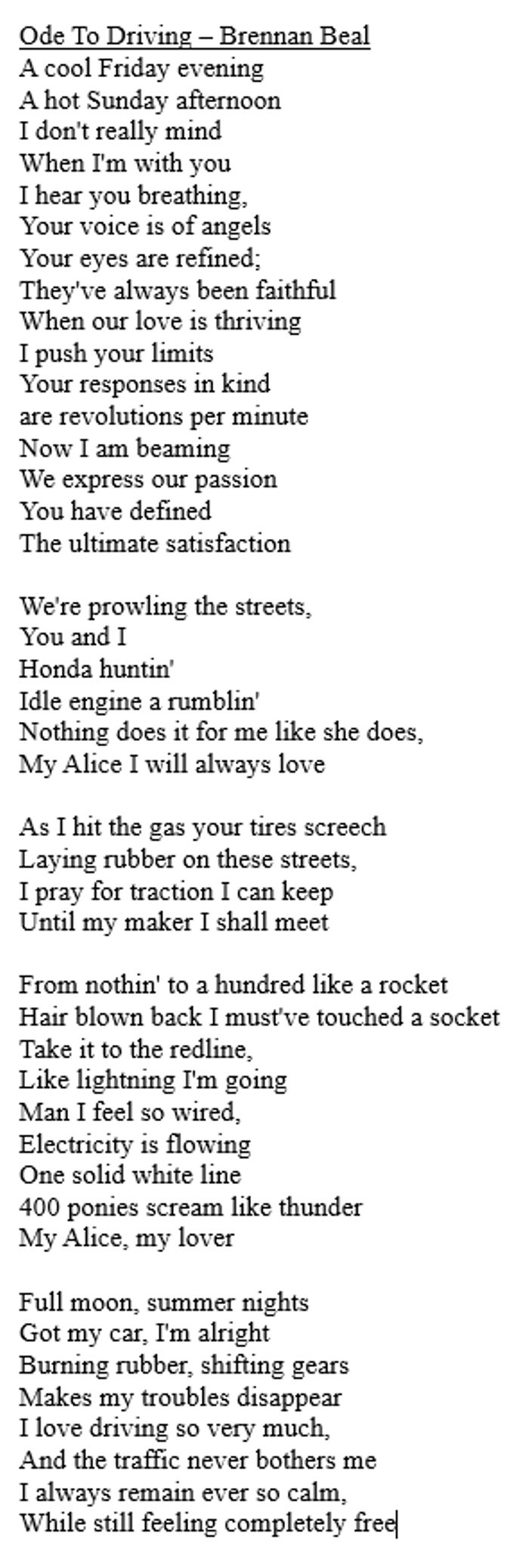 This Is A Poem I Wrote For My English Class That I Think You