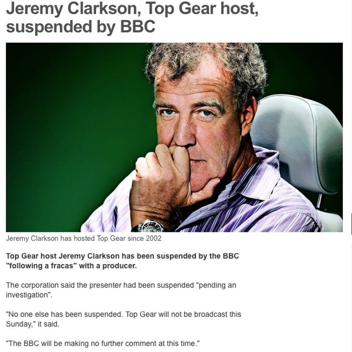 Jeremy Clarkson Suspended By BBC