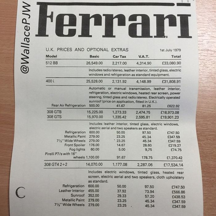 Sb Race Discovered The Uk Official Ferrari Price List From 1979 Quite Ridiculous Have A Read Through Some Of The Optional Extras