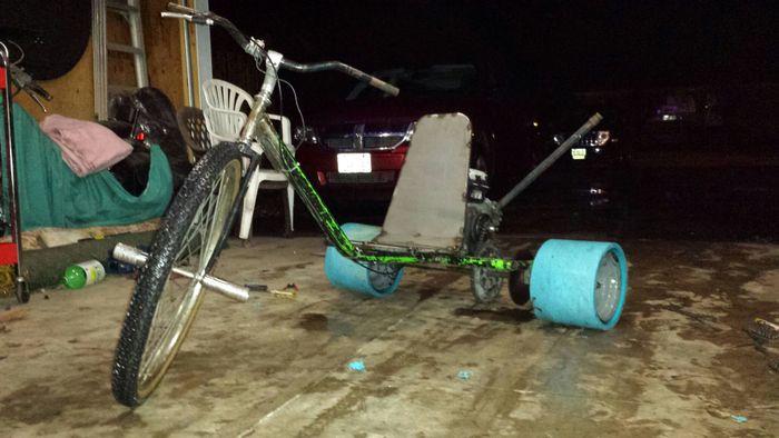 Drift trike made from an old go kart frame