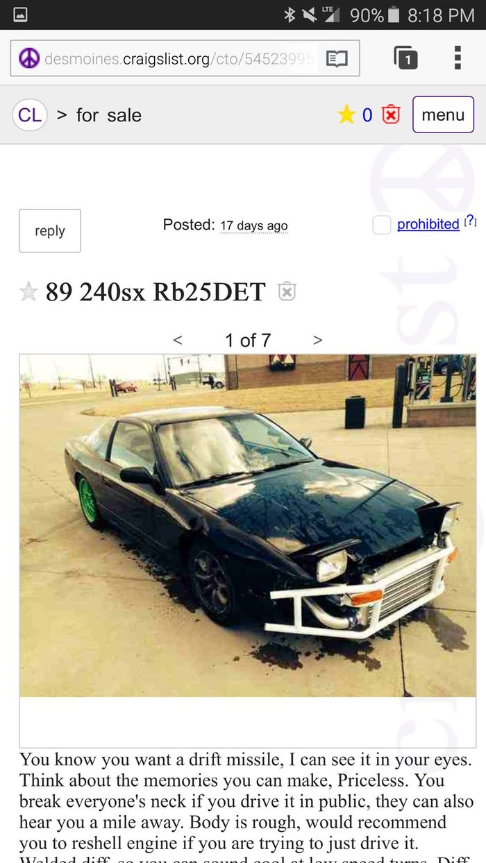 Pretty Cool Car Tho You Guys Better Hop On This Right Away 4500 Bucks For Drift Missile