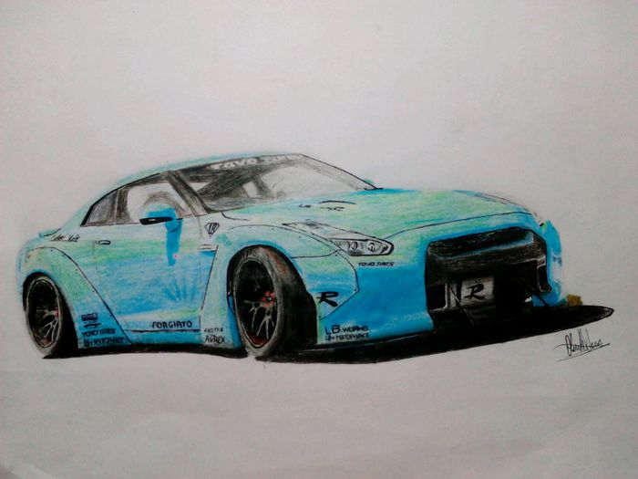 My drawing of the Nissan GT-R R35 with a Liberty Walk body ...