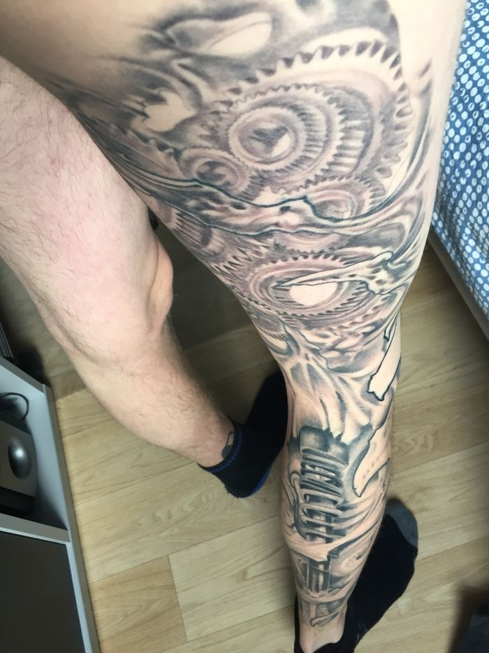 My Biomech Automech Leg Sleeve With Gears And Ofc A Coilover Tattoo