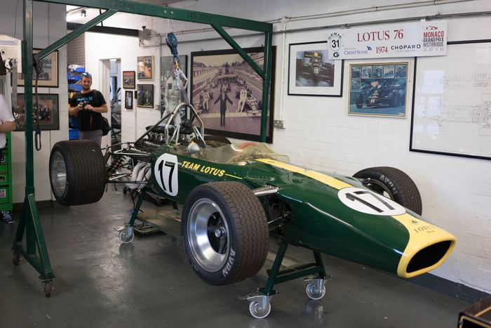 The Lotus Type 49 this exact car was the car which one on its debut outing at Zandvoort in 1967 - driven by Jim Clark. & Behind the doors of Classic Team Lotus