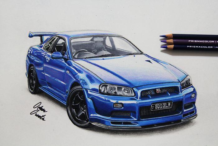 Nissan Gtr R34 Skyline Drawing