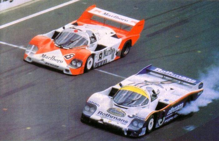 the marlboro liveried 956 alongisde the race winning 956 at le mans 1983. Black Bedroom Furniture Sets. Home Design Ideas
