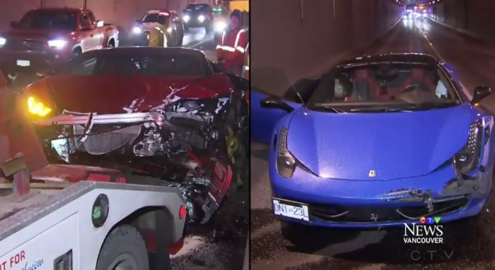 Lamborghini Huracan And Ferrari 458 Douchebags Crash Into Each Other