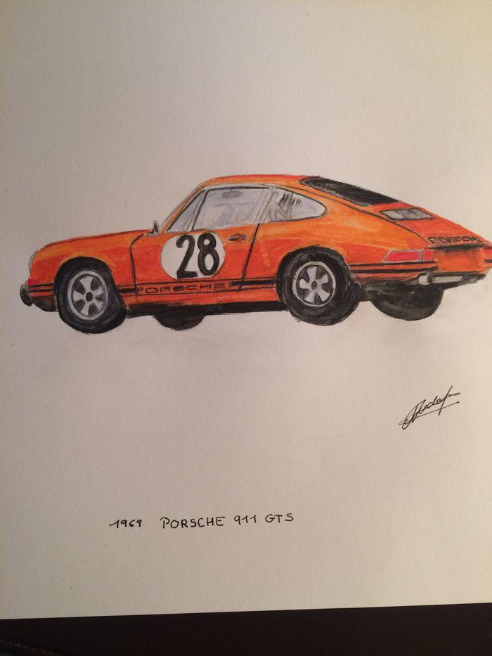 1969 Porsche 911 Gts Water Colour Pencil Drawing