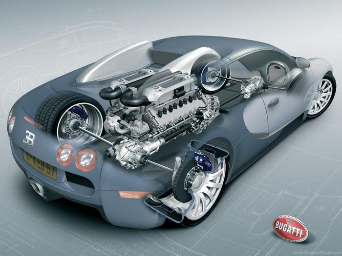Cutaway Of The Veyron Showing Engine And Drivetrain Components: Bugatti W16 Engine Animation At Shintaries.co