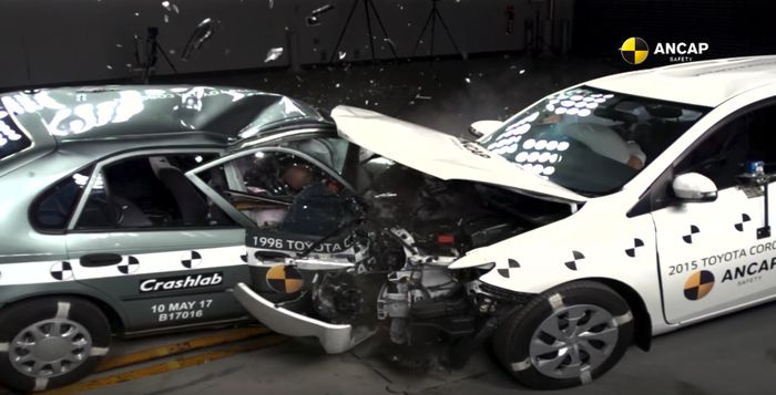What happens when a 1998 and a 2015 Toyota Corolla crash?