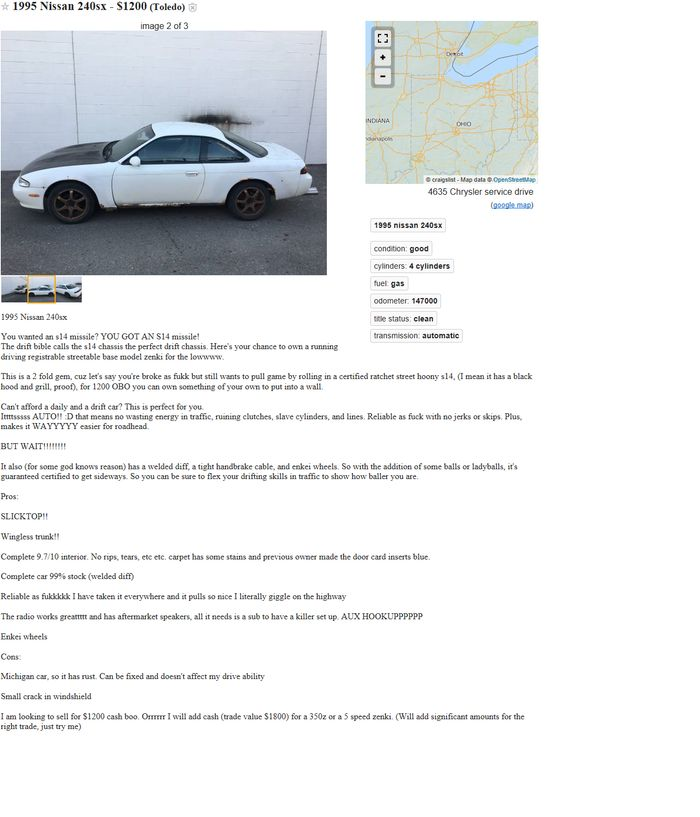 This May Be The Best Craigslist Ad Ive Ever Seen - May best craigslist ad car ever