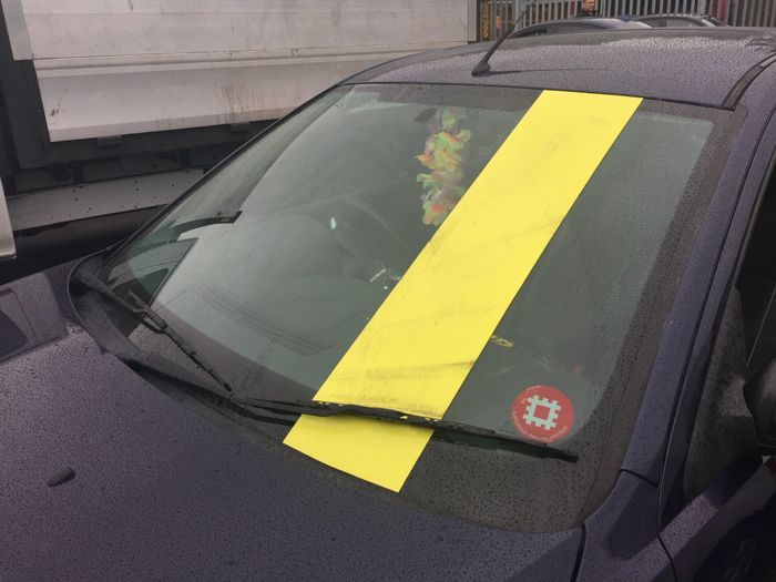 brace   shocking reality   windscreen obscuring racing stripe
