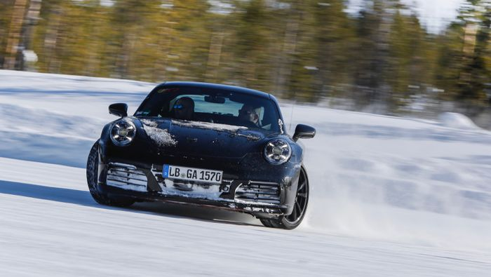 Porsche shows off the new 911 undergoing testing