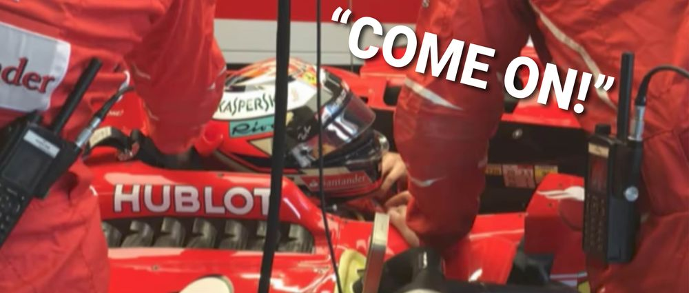 Listen To Kimi Raikkonen Rage Over Not Having A Steering Wheel