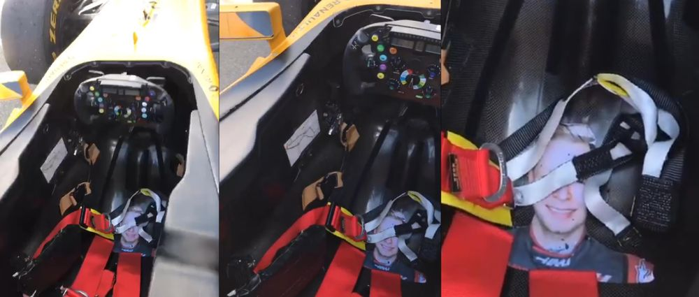 Hulkenberg Puts Picture Of Magnussen In Cockpit During F1 Show Run