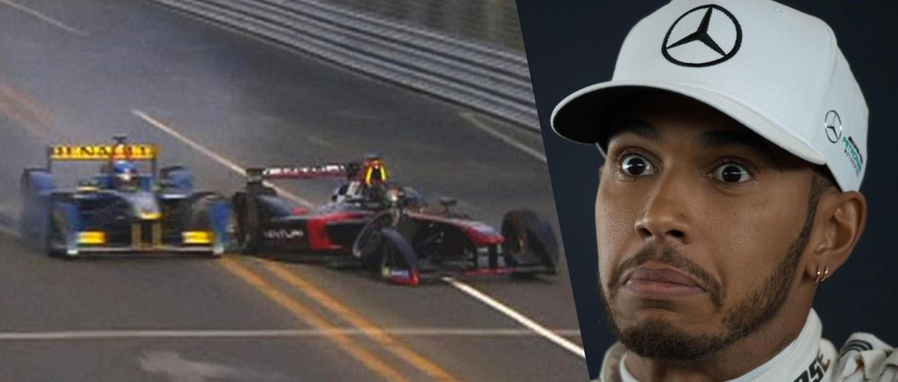 Hamilton Has Apparently Only Just Seen This Formula E Crash
