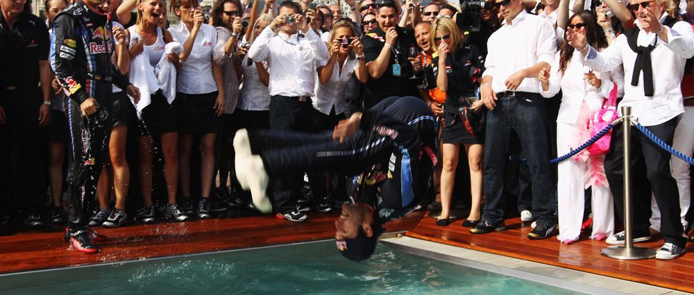 On This Day In F1 - Mark Webber Backflipped Into A Swimming Pool