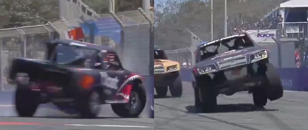 This Stadium Super Trucks Driver Had A Huge Crash, Yet Remained In The Lead