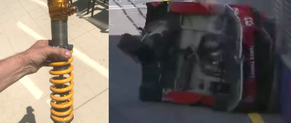 A Shock Absorber Ended Up On Someone's Balcony After A Massive Supercars Accident
