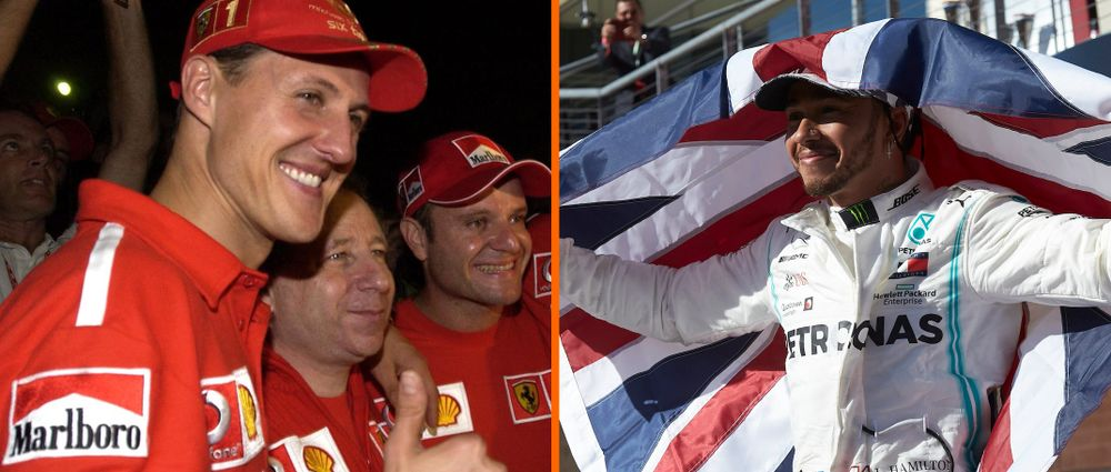 How Schumacher's Statistics After Six Titles Compare With Hamilton's