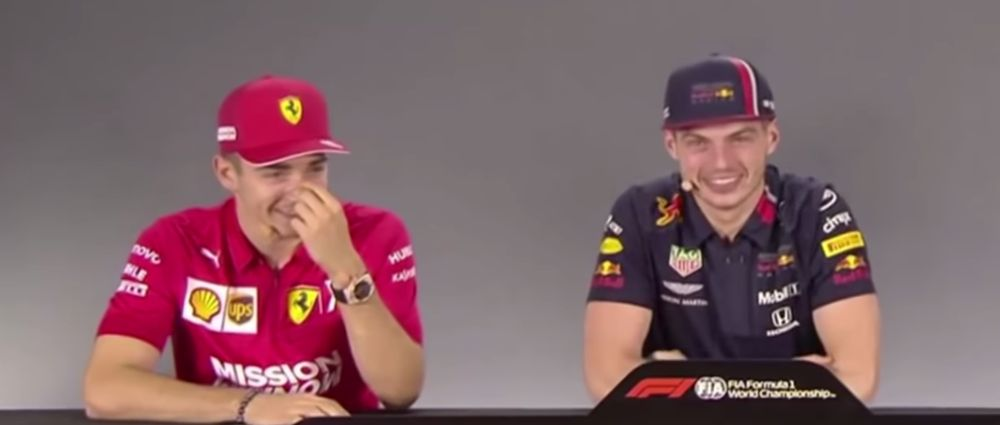 Verstappen And Leclerc Lost It Following A Ridiculously Long Press Conference Question
