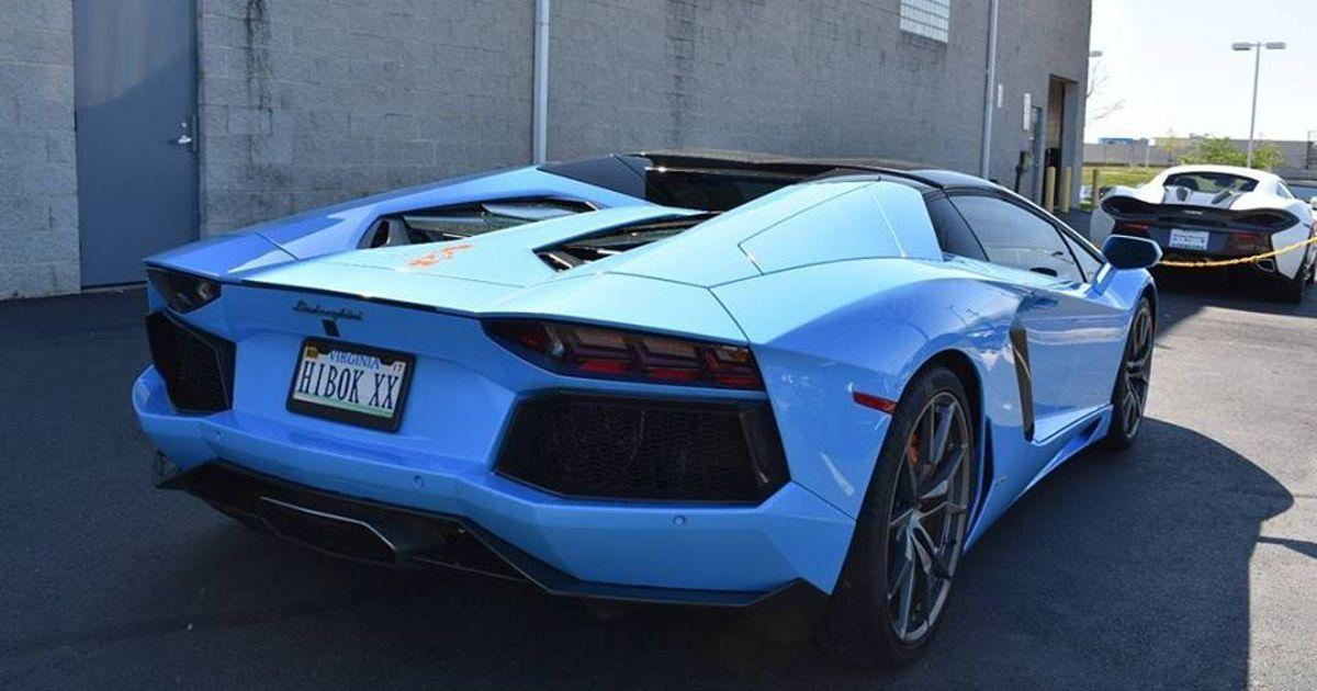 Baby Blue Lamborghini Aventador Roadster