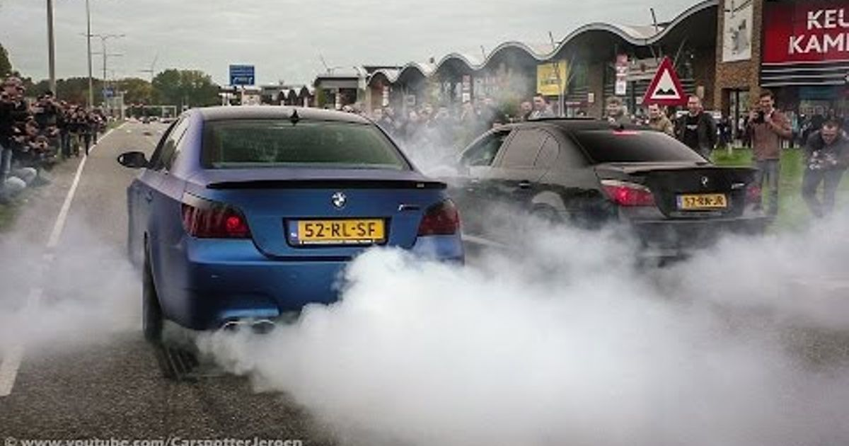 Epic Drifting And A Burnout By Two E60 Bmw M5 V10