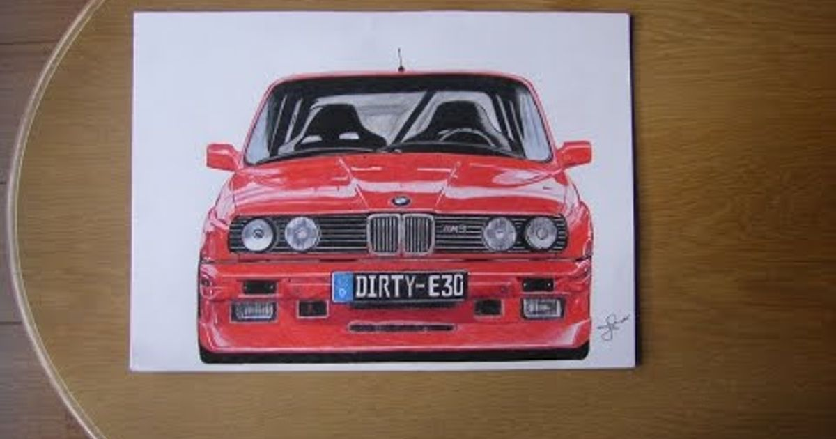 Bmw E30 M3 Drawing By Jh Drawings Time Lapse
