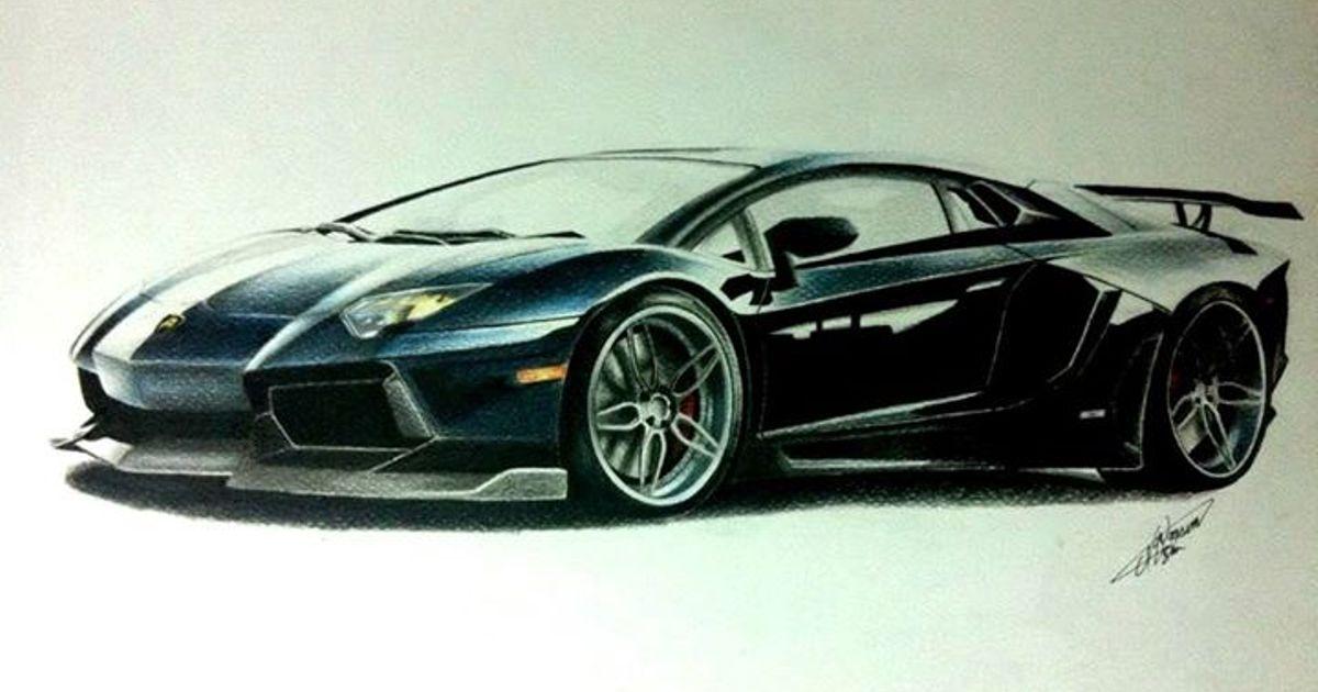 Drawing Of The Lamborghini Aventador