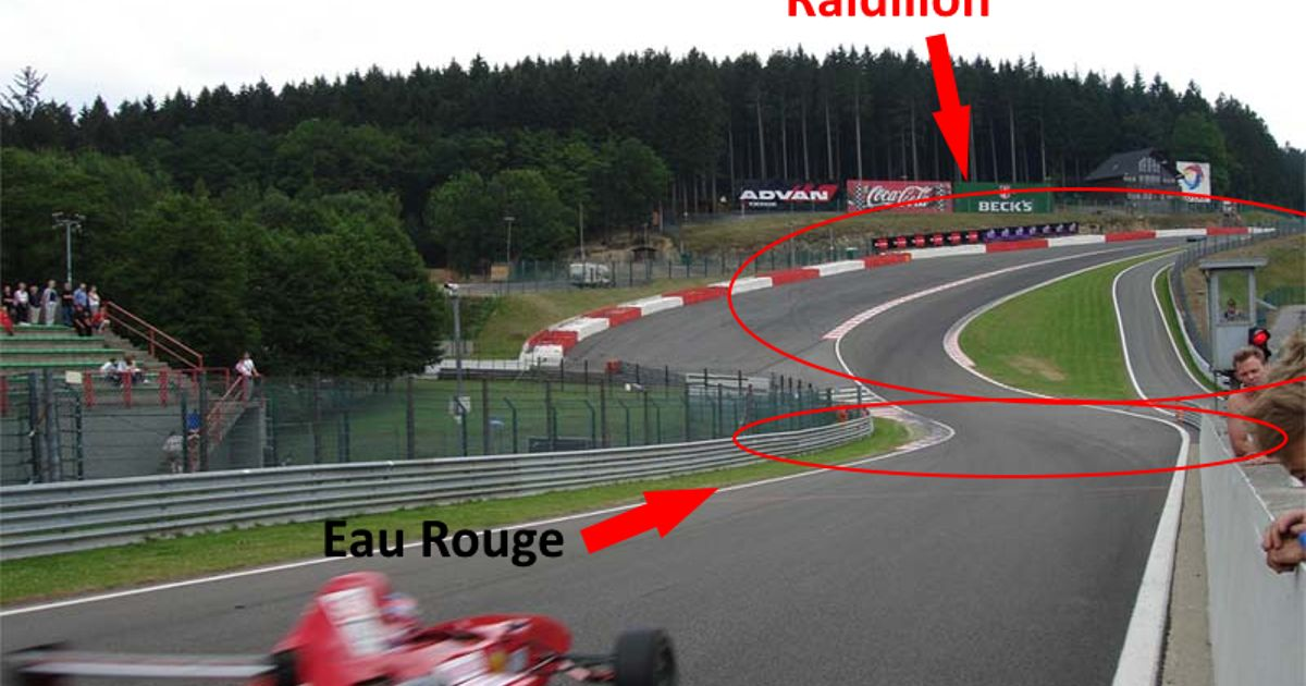 Lets Get This Over With Once And For All Eau Rouge Is Not The Famous Tricky Uphill Right Hander