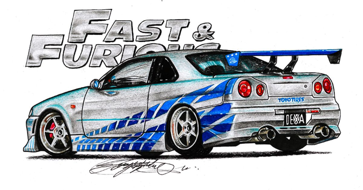 My New Drawing Nissan Skyline R34 From Fast And Furious Hope