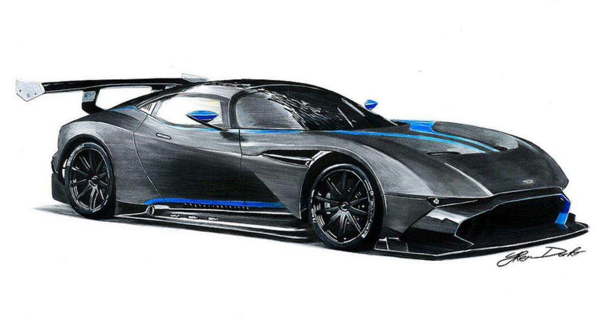 Aston Martin Vulcan Drawing 50x35cm Pencils Markers Fb Page Car Drawings By Iker Darko