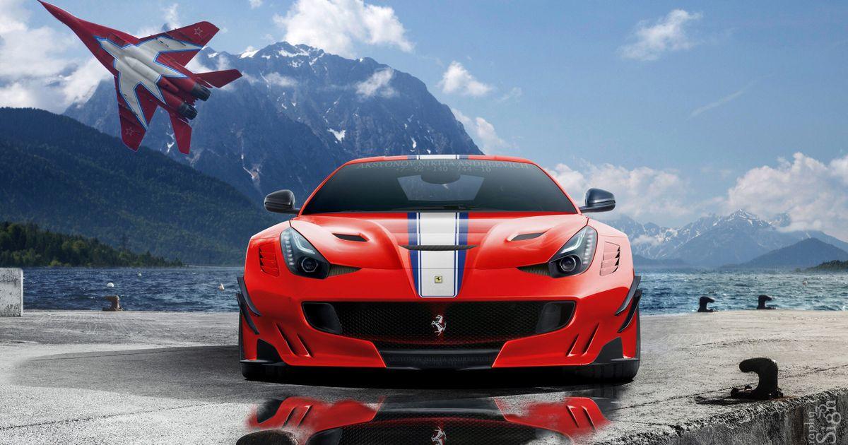 Ferrari F12 дорога забор  № 2437985  скачать