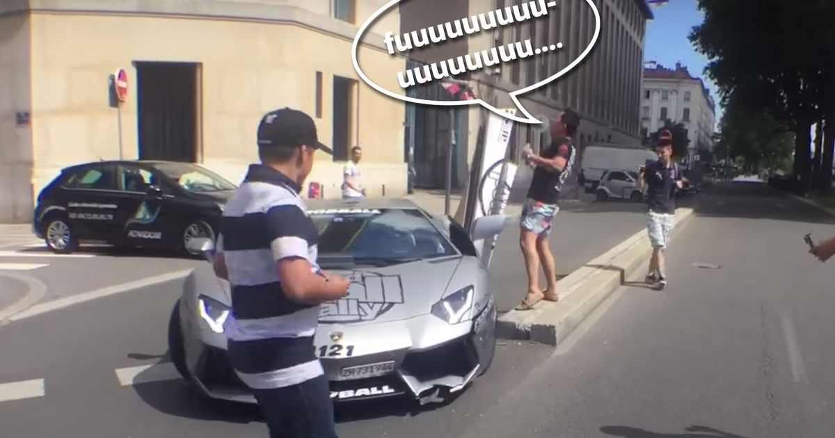 This Lamborghini Aventador Driver Smashed Into A Kerb Then Had A