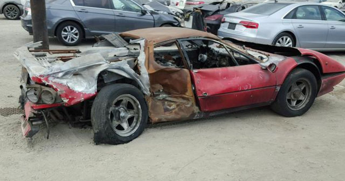 This Fire-Wrecked Ferrari 512 Has Just Sold For About $40,000