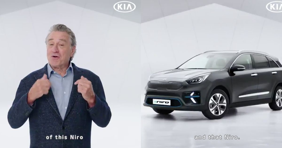 robert de niro is helping kia promote the e niro. Black Bedroom Furniture Sets. Home Design Ideas