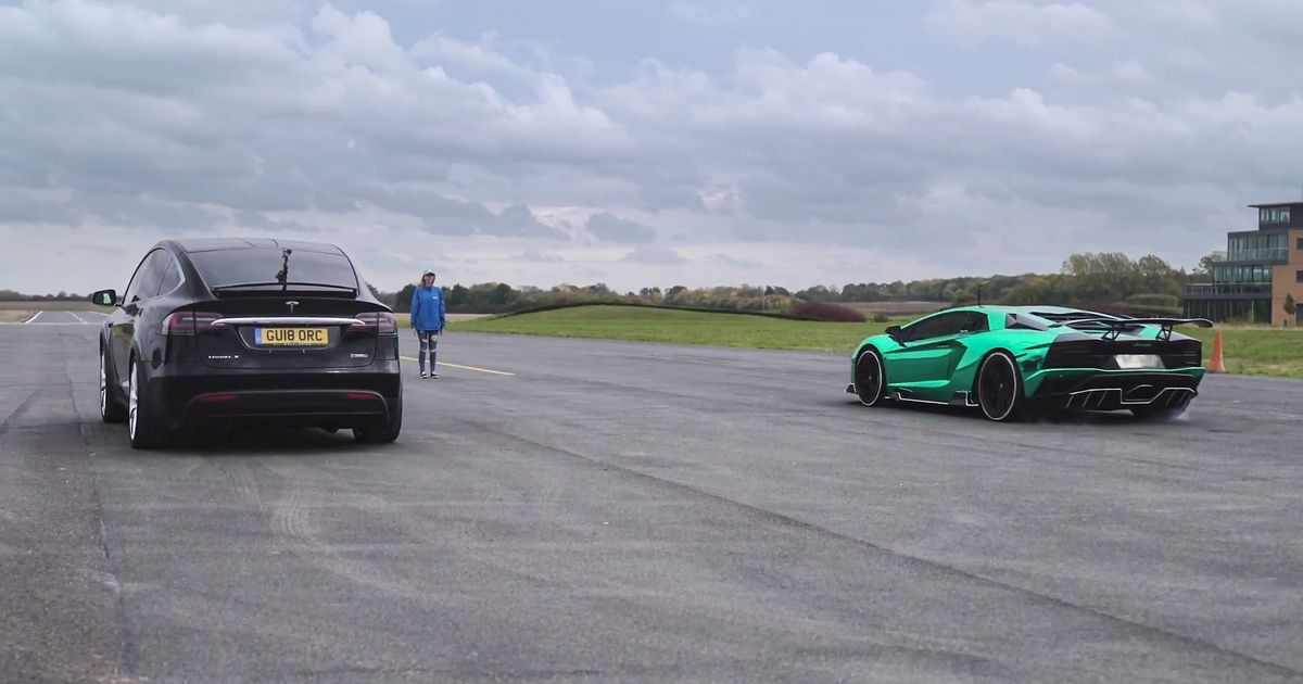 Can A Tesla Model X Beat A Lamborghini Aventador S In A Straight
