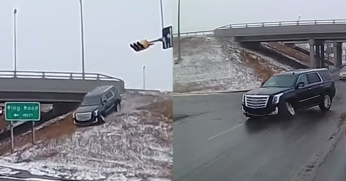 Cadillac Escalade Driver Takes  Alternative  Highway Exit