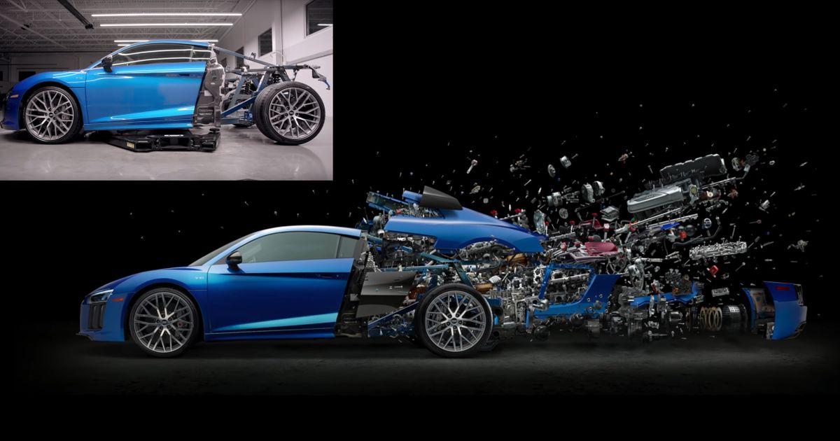 Artist Dismantles Audi R8 For Stunning  Exploded  Image