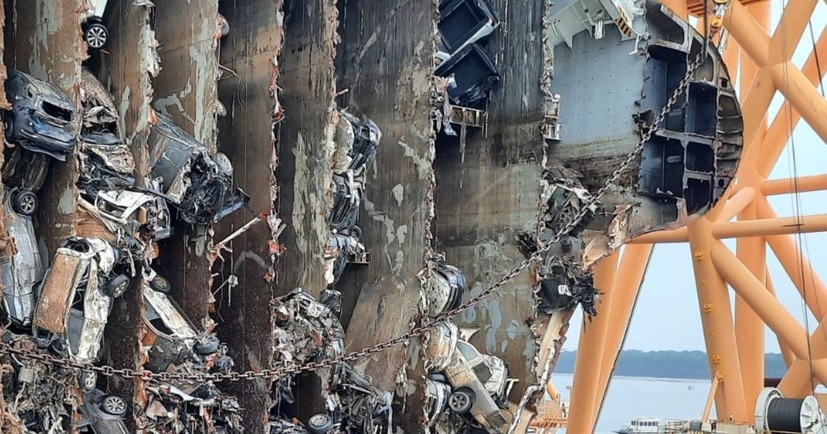 Capsized Cargo Ship Sliced Apart In Salvage Efforts, Revealing Hundreds Of Mangled Cars