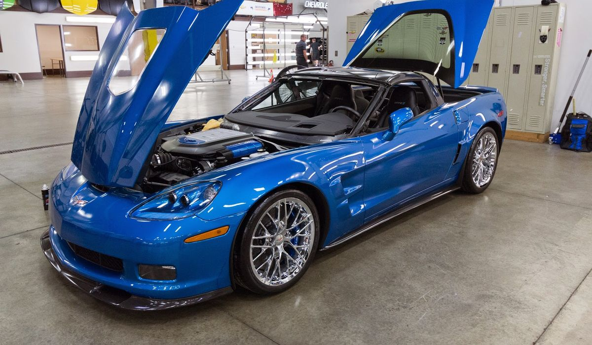 The corvette zr1 blue devil sinkhole victim is looking mighty fine post restoration