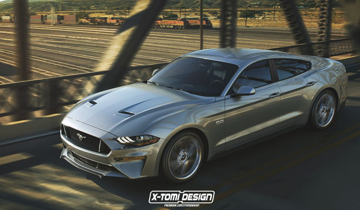 What the 2018 ford mustang would look like with four doors and as a gt350
