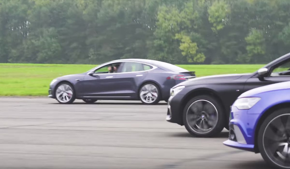 Even With A Poor Start This Tesla Model S Annihilates An RS6, E63 S