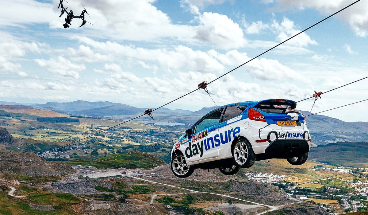 A Rally Car On A Zip Wire Is Today\'s Gold-Standard Jaw-Dropping Stunt