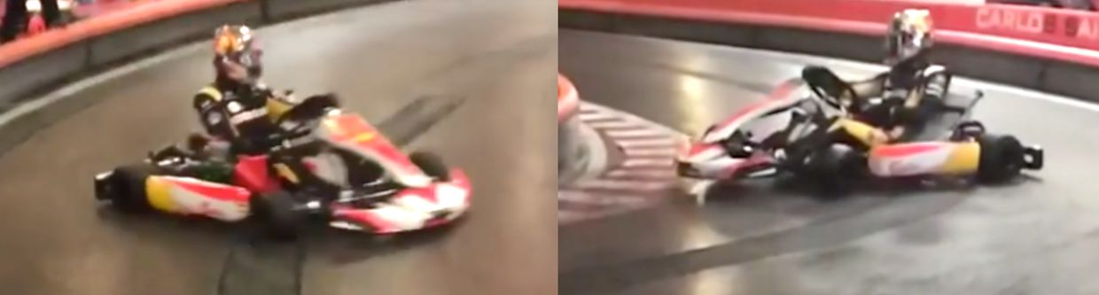 Watch Sainz Casually Drifting A Go-Kart With Incredible Precision